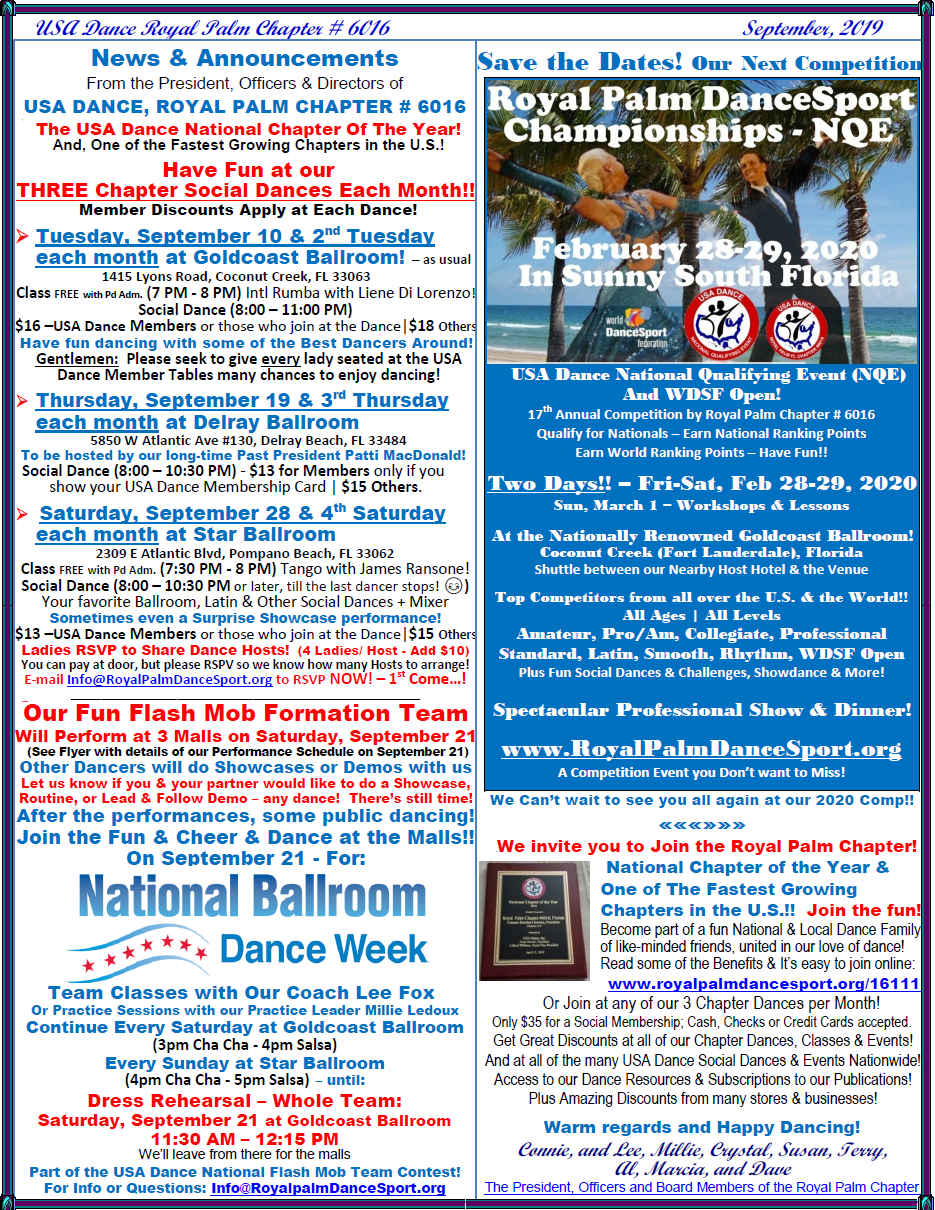 September, 2019 News & Announcements from President, Officers & Board of Directors of USA Dance, Royal Palm Chapter # 6016