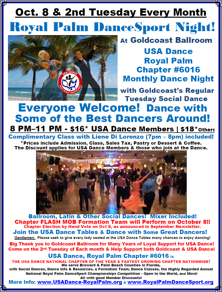 USA Dance, Royal Palm Chapter Monthly Dance: October 8 & the 2nd Tuesday Every Month - at Goldcoast Ballroom!
