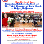 Don't Miss Our October Chapter Social Dances! – Tuesday, October 8 at Goldcoast Ballroom, Coconut Creek, FL; Thursday, October 17 at The Delray Ballroom, Delray Beach, FL;  & Saturday, October 26 at Star Ballroom, Pompano Beach, FL