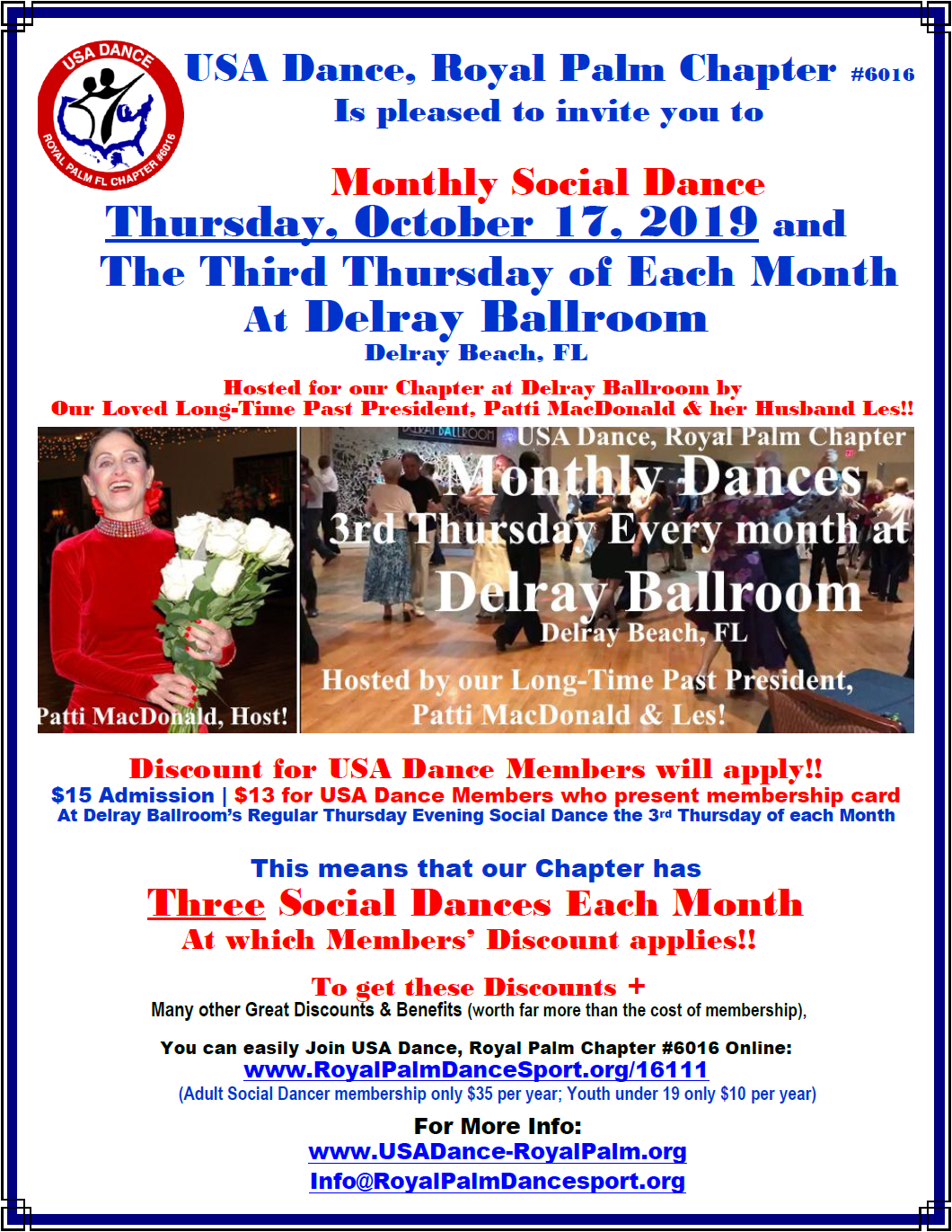 USA Dance, Royal Palm Chapter Monthly Dance: Thursday, October 17 & 3rd Thursday Every Month at Delray Ballroom