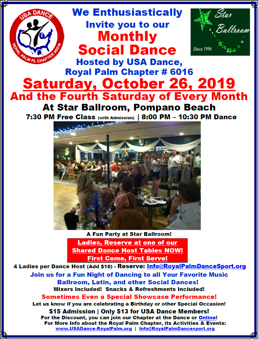 USA Dance, Royal Palm Chapter Monthly Dance: Saturday, October 26 & 4th Saturday Every Month at Star Ballroom, Pompano Beach, FL