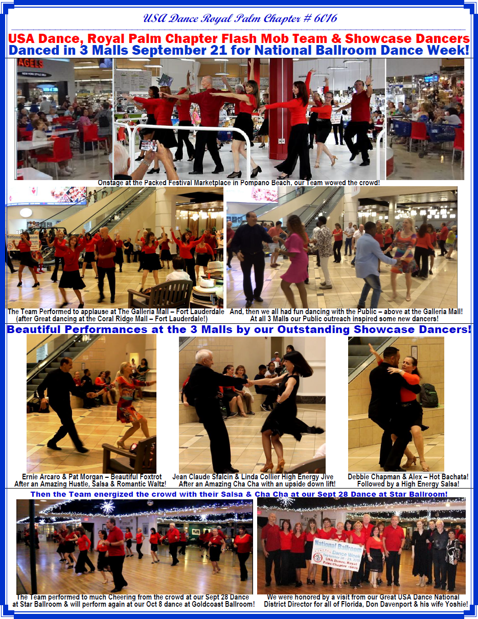 USA Dance, Royal Palm Chapter # 6016 - Pictures from Performances in 3 Malls & a Ballroom September, 2019 - for National Ballroom Dance Week