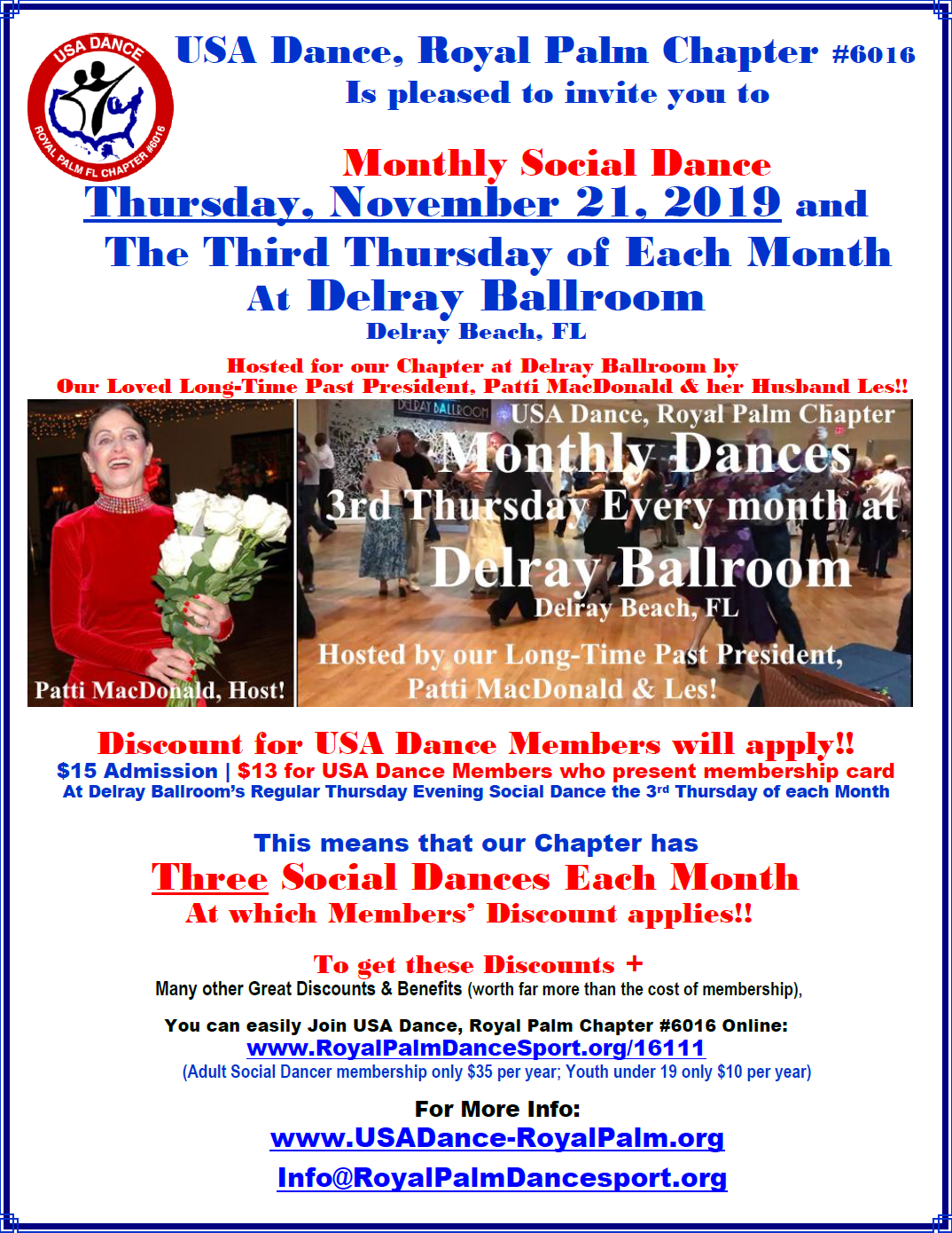 USA Dance, Royal Palm Chapter Monthly Dance: Thursday, November 21 & 3rd Thursday Every Month at Delray Ballroom