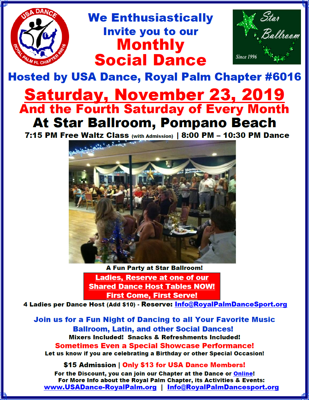 USA Dance, Royal Palm Chapter Monthly Dance: Saturday, November 23 & 4th Saturday Every Month at Star Ballroom, Pompano Beach, FL