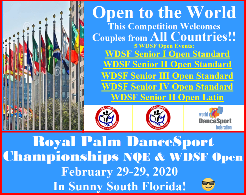 Open to the World!! - More WDSF Open Events than Last Competition!!