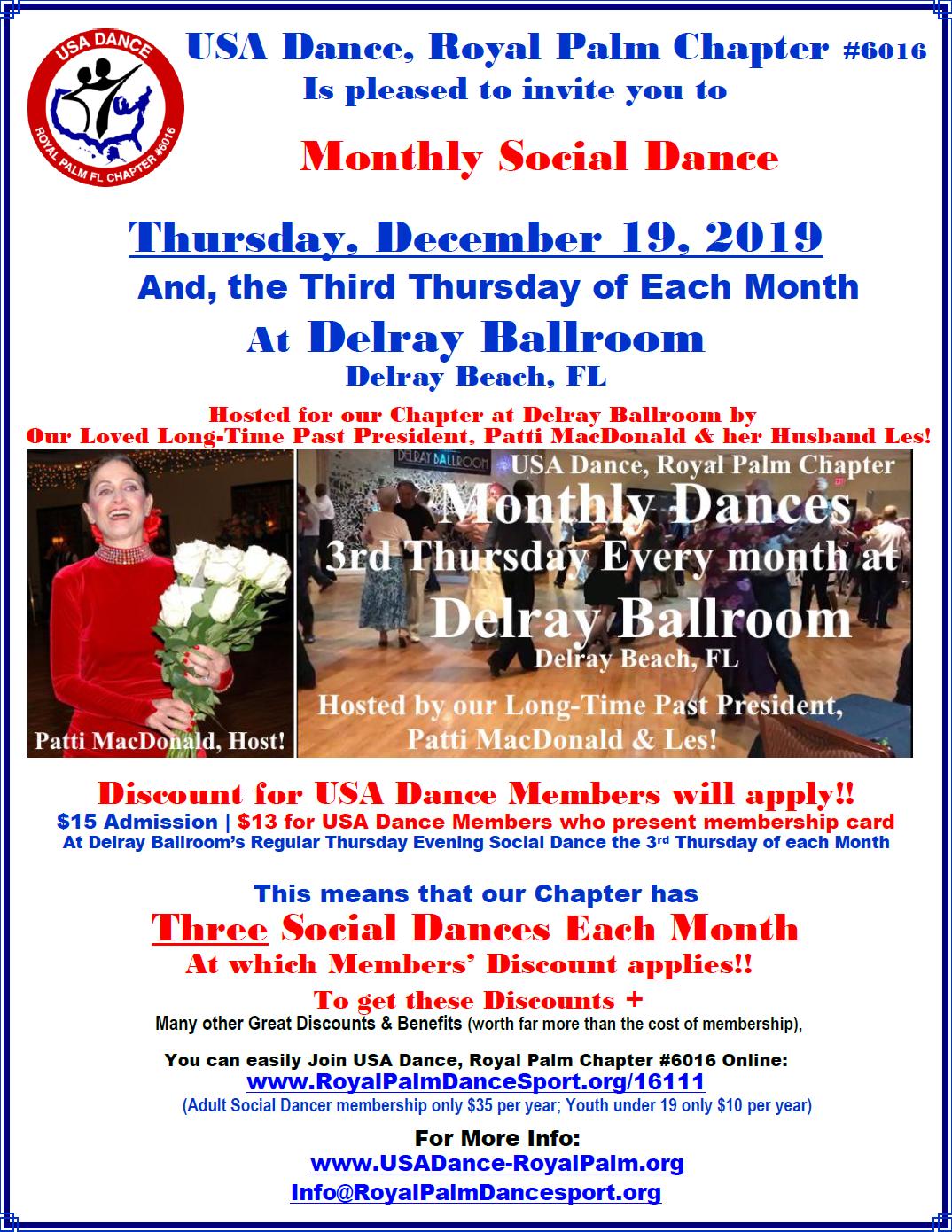 December 19, 2019 - Royal Palm Chapter Social Dance at Delray Ballroom