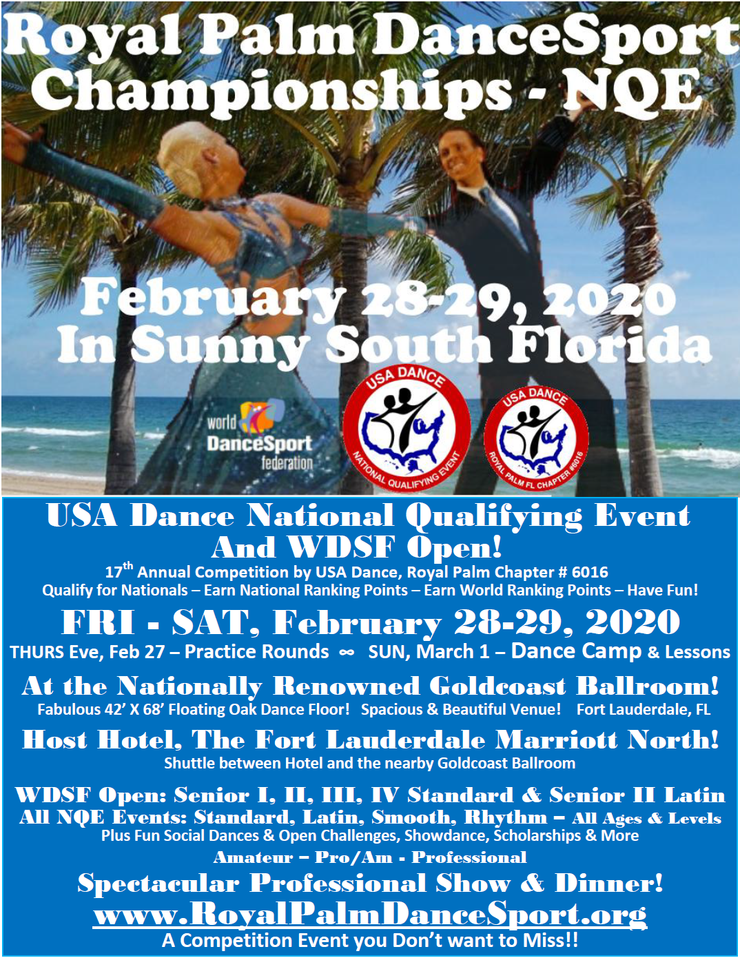 Royal Palm DanceSport Championships NQE & WDSF Open - February 28-29, 2020 - A Competition Event you Don't want to Miss!!