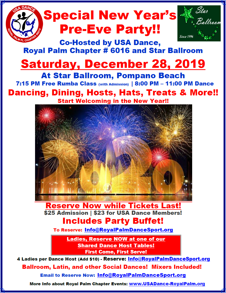 Special New Year's Pre-Eve Party at Star Ballroom - Saturday, December 28, 2019!