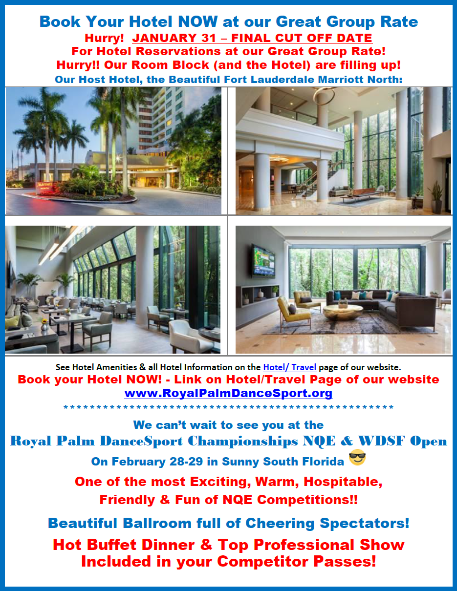 Hotel Group Rate ENDS January 31 - Book Now! - Dinner Buffet included in Competitor Passes!