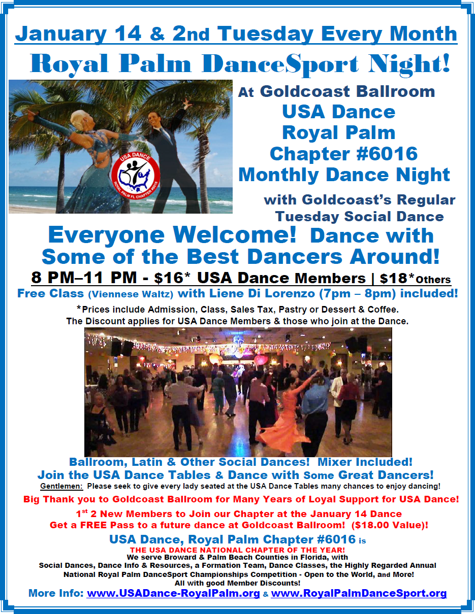 January 14, 2020 Monthly Dance at Goldcoast Ballroom