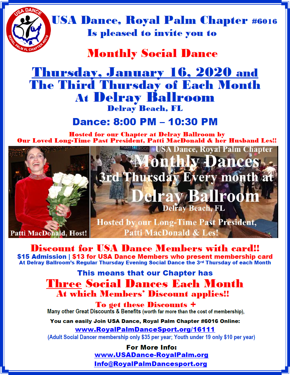 January 16, 2020 Monthly Dance at Delray Ballroom