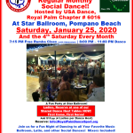 Don't Miss Our January Chapter Social Dances! – Tuesday, January 14 at Goldcoast Ballroom, Coconut Creek, FL — Thursday, January 16 at The Delray Ballroom, Delray Beach, FL —  Saturday, January 25 at Star Ballroom, Pompano Beach, FL