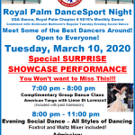 News on our March & April Chapter Social Dances – Tuesday, March 10 Chapter Dance with Special Showcase Performance held at Goldcoast Ballroom, Coconut Creek, FL — Effective March 14, Chapter Hosting of Social Dances Suspended until further Notice due to COVID-19 Coronavirus Outbreak