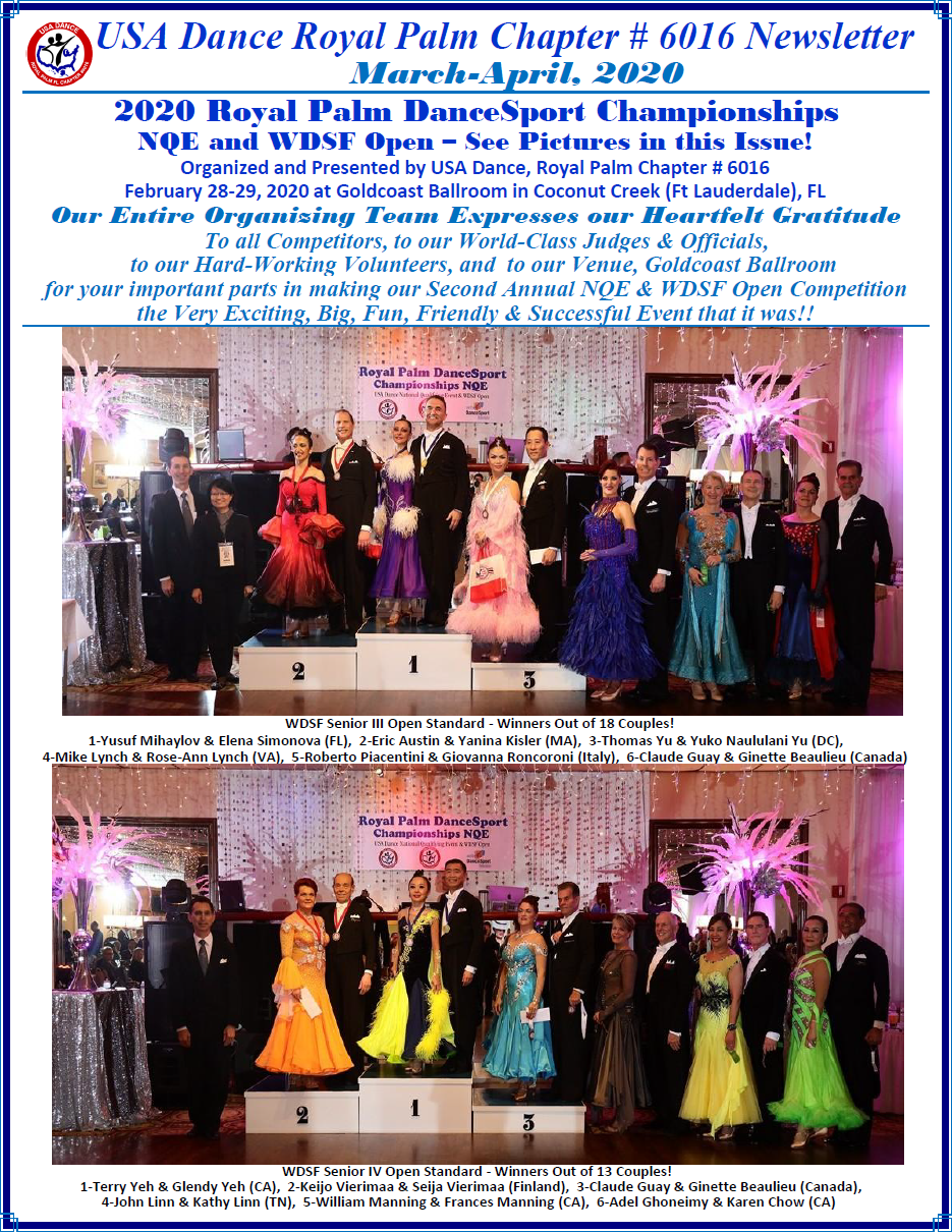 Cover Page - March-April, 2020 Royal Palm Chapter Newsletter