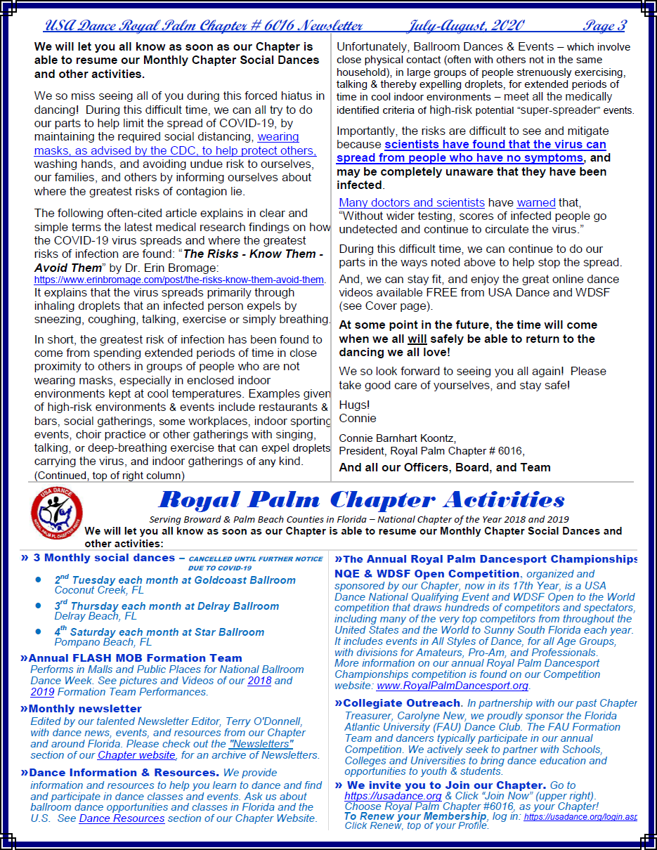 Royal Palm Chapter 6016 July-August, 2020 Newsletter - Page 3 (Click to Read More)