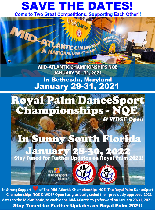 January 28-30, 2022 -- Save the Dates for our 2022 Competition! -- And --  Stay Tuned for Further Updates on 2021!