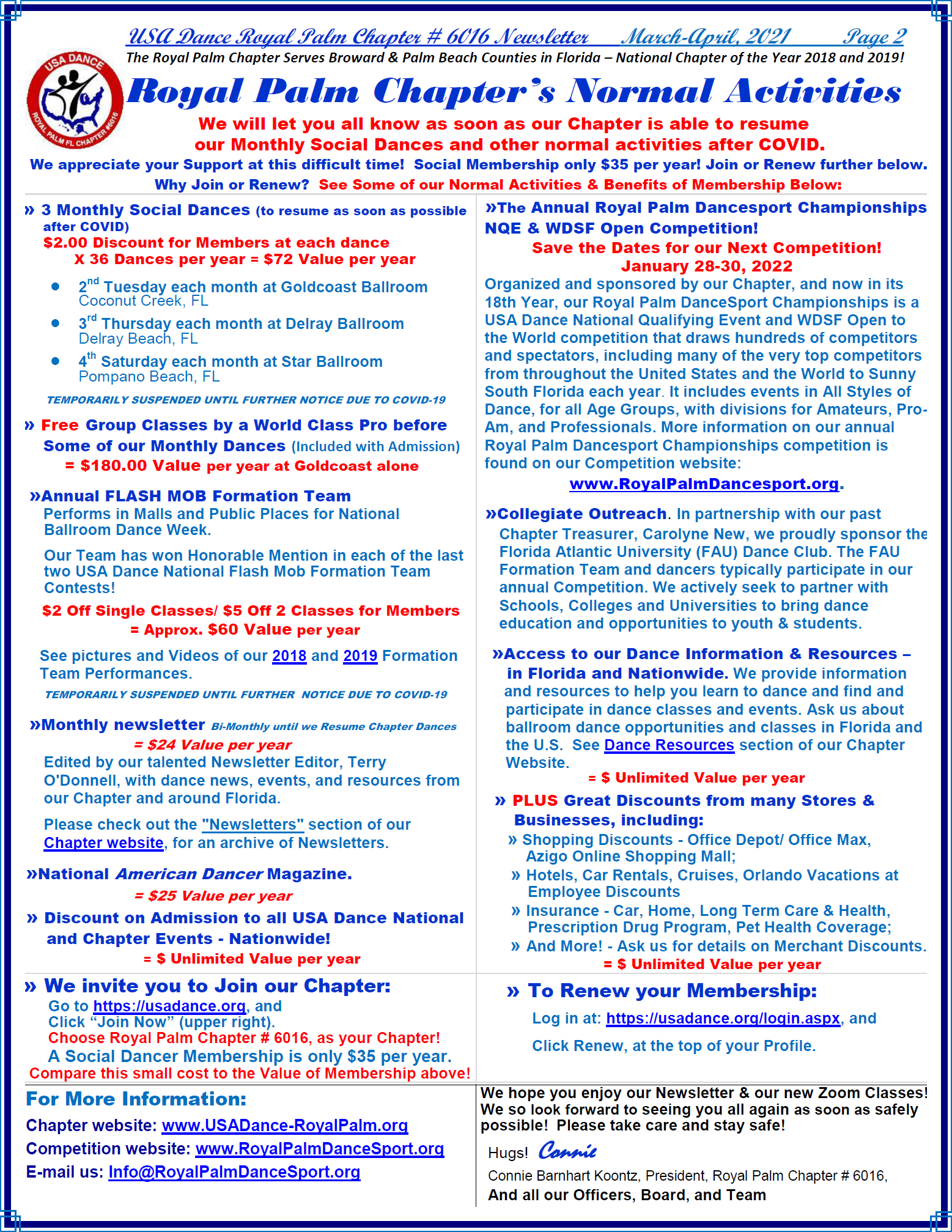 Royal Palm Chapter's Normal Activities - Page 2, March-April, 2021 Newsletter