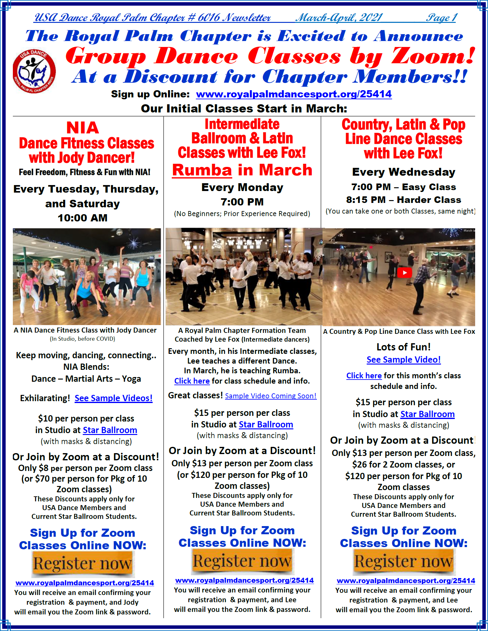 Zoom Classes starting in March, 2021 - Page 1 March-April, 2021 Royal Palm Chapter Newsletter