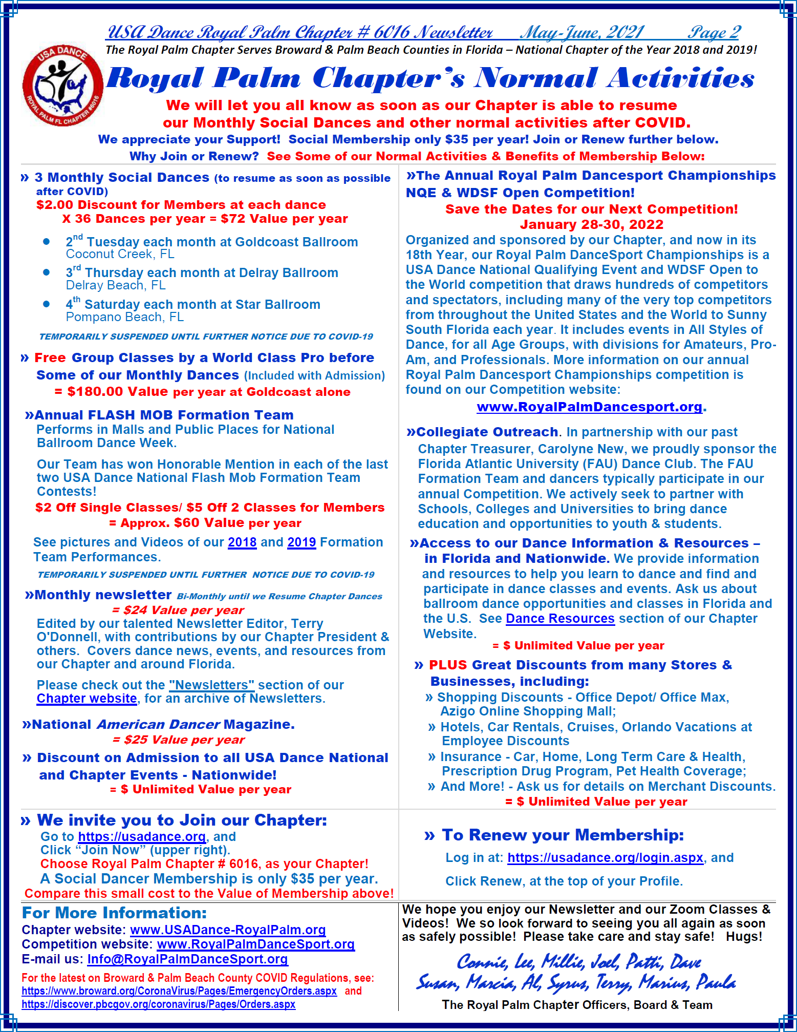 Royal Palm Chapter May-June, 2021 Newsletter - Page 2