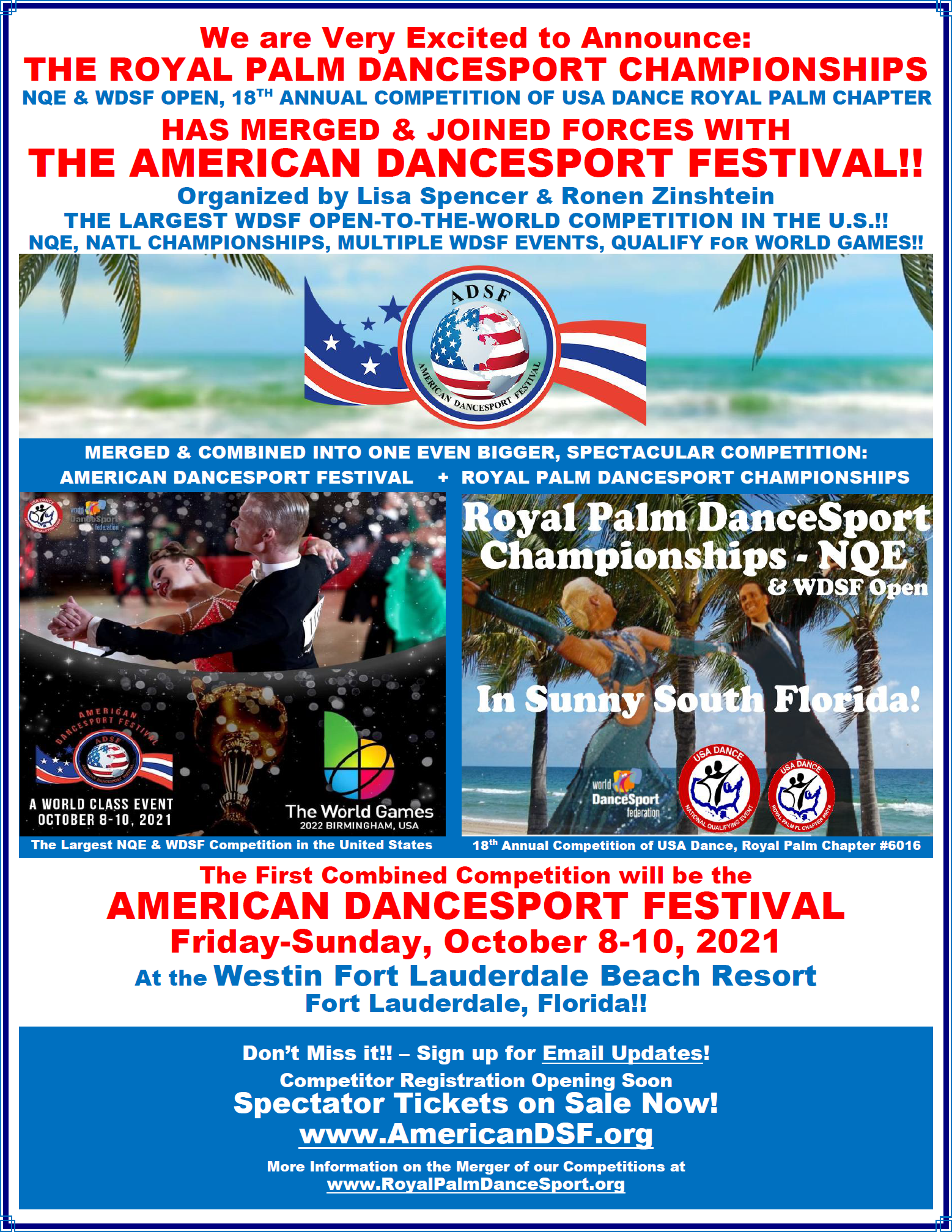ADSF & Royal Palm Combined Competition - October 8-10, 2021 - at Westin Fort Lauderdale Beach Resort!