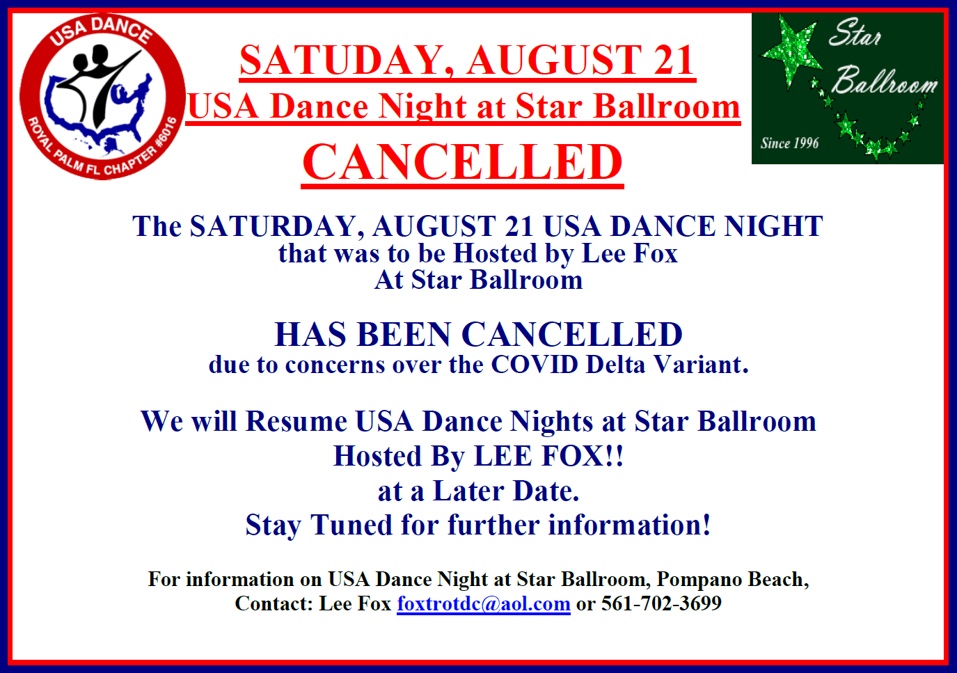 August 21 Royal Palm Chapter Dance CANCELLED - due to concerns over COVID-Delta Variant
