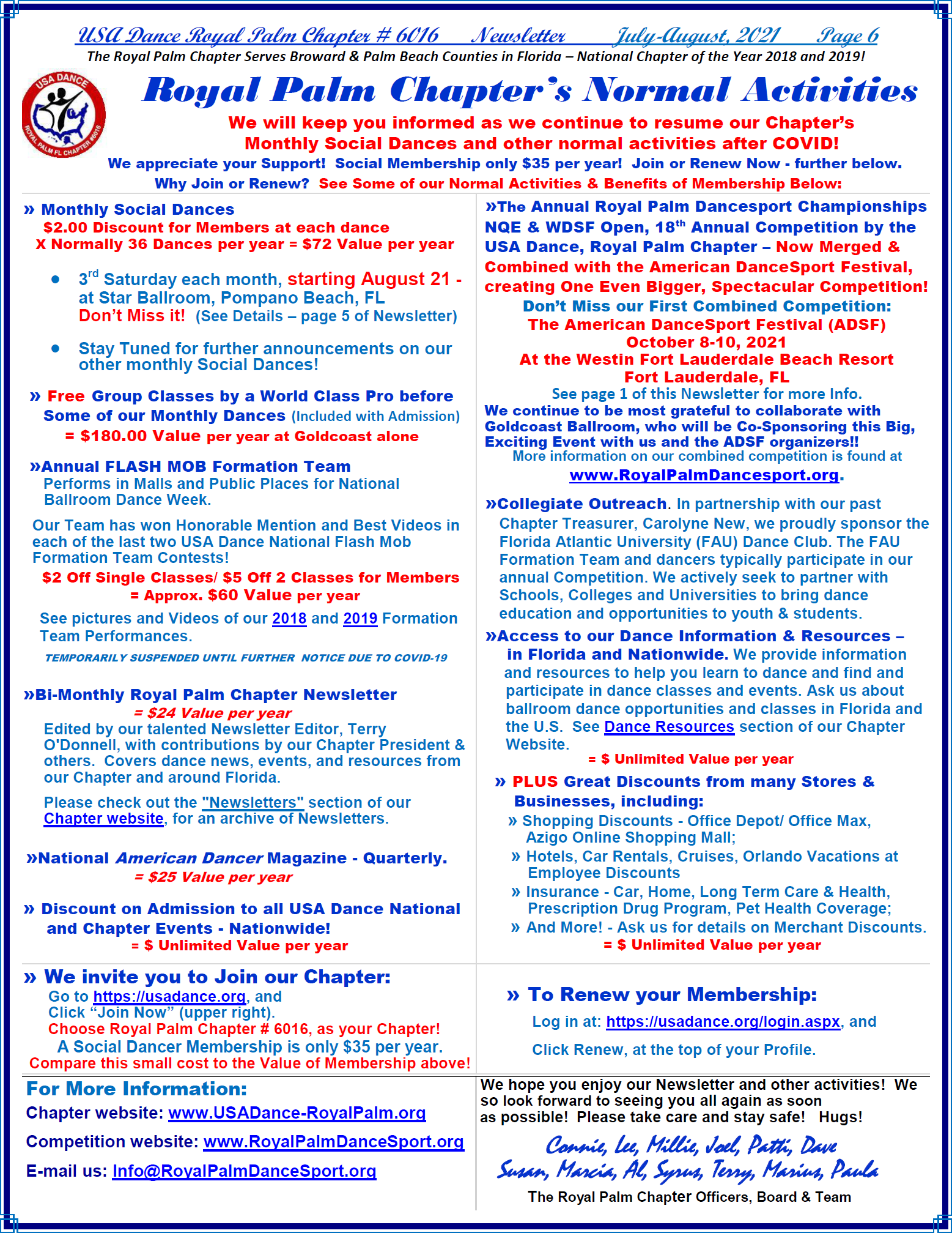 Royal Palm Chapter Normal Activities - p.6 July-Aug Newsletter